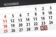 Calendar плановик на месяц, день крайнего срока недели 2018 30-ое ноября, пятница иллюстрация вектора