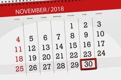 Calendar плановик на месяц, день крайнего срока недели 2018 30-ое ноября, пятница иллюстрация штока