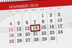 Calendar плановик на месяц, день крайнего срока недели 2018 14-ое ноября, среда иллюстрация штока