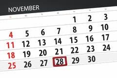 Calendar плановик на месяц, день крайнего срока недели 2018 28-ое ноября, среда иллюстрация штока