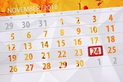 Calendar плановик на месяц, день крайнего срока недели 2018 24-ое ноября, суббота иллюстрация штока