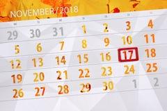 Calendar плановик на месяц, день крайнего срока недели 2018 17-ое ноября, суббота бесплатная иллюстрация