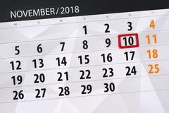 Calendar плановик на месяц, день крайнего срока недели 2018 10-ое ноября, суббота иллюстрация штока