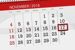 Calendar плановик на месяц, день крайнего срока недели 2018 17-ое ноября, суббота иллюстрация вектора