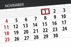 Calendar плановик на месяц, день крайнего срока недели 2018 1-ое ноября, четверг иллюстрация штока