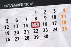 Calendar плановик на месяц, день крайнего срока недели 2018 15-ое ноября, четверг стоковая фотография rf