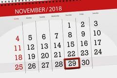 Calendar плановик на месяц, день крайнего срока недели 2018 29-ое ноября, четверг иллюстрация вектора