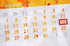 Calendar плановик на месяц, день крайнего срока недели 2018 18-ое ноября, воскресенье иллюстрация вектора