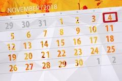 Calendar плановик на месяц, день крайнего срока недели 2018 4-ое ноября, воскресенье иллюстрация штока