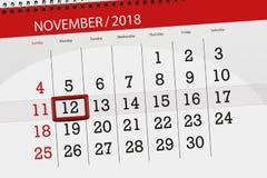 Calendar плановик на месяц, день крайнего срока недели 2018 12-ое ноября, понедельник бесплатная иллюстрация