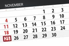 Calendar плановик на месяц, день крайнего срока недели 2018 25-ое ноября, воскресенье иллюстрация вектора