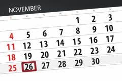 Calendar плановик на месяц, день крайнего срока недели 2018 26-ое ноября, понедельник иллюстрация вектора
