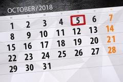 Calendar плановик на месяц, день крайнего срока недели 2018 5-ое октября, пятница Иллюстрация вектора