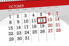 Calendar плановик на месяц, день крайнего срока недели 2018 12-ое октября, пятница Иллюстрация штока