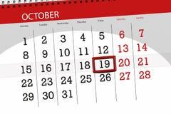Calendar плановик на месяц, день крайнего срока недели 2018 19-ое октября, пятница иллюстрация штока