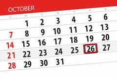 Calendar плановик на месяц, день крайнего срока недели 2018 26-ое октября, пятница иллюстрация штока