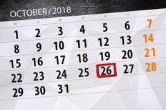 Calendar плановик на месяц, день крайнего срока недели 2018 26-ое октября, пятница иллюстрация вектора