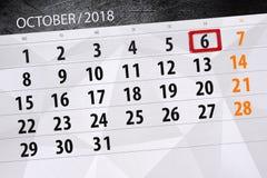 Calendar плановик на месяц, день крайнего срока недели 2018 6-ое октября, суббота Бесплатная Иллюстрация