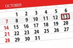 Calendar плановик на месяц, день крайнего срока недели 2018 13-ое октября, суббота Иллюстрация вектора