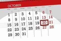 Calendar плановик на месяц, день крайнего срока недели 2018 20-ое октября, суббота бесплатная иллюстрация