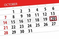 Calendar плановик на месяц, день крайнего срока недели 2018 20-ое октября, суббота иллюстрация вектора