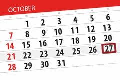 Calendar плановик на месяц, день крайнего срока недели 2018 27-ое октября, суббота бесплатная иллюстрация