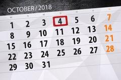 Calendar плановик на месяц, день крайнего срока недели 2018 4-ое октября, четверг иллюстрация вектора