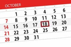 Calendar плановик на месяц, день крайнего срока недели 2018 18-ое октября, четверг иллюстрация вектора