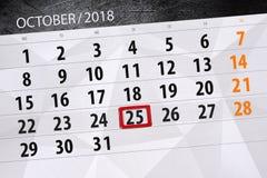 Calendar плановик на месяц, день крайнего срока недели 2018 25-ое октября, четверг иллюстрация штока