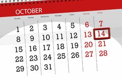 Calendar плановик на месяц, день крайнего срока недели 2018 14-ое октября, воскресенье Иллюстрация штока