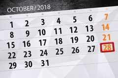 Calendar плановик на месяц, день крайнего срока недели 2018 28-ое октября, воскресенье иллюстрация вектора