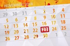 Calendar плановик на месяц, день крайнего срока недели 2018 23-ье ноября, пятница иллюстрация вектора