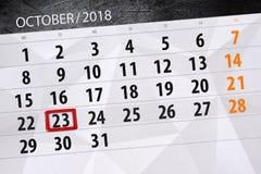 Calendar плановик на месяц, день крайнего срока недели 2018 23-ье октября, вторник иллюстрация штока