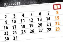 Calendar плановик на месяц, день недели, воскресенье крайнего срока, 1-ое июля 2018 Стоковое Изображение RF