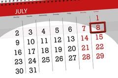 Calendar плановик на месяц, день недели, воскресенье крайнего срока, 8-ое июля 2018 Стоковые Изображения RF