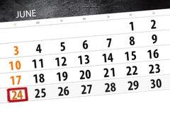 Calendar плановик на месяц, день недели, воскресенье крайнего срока, 24-ое июня 2018 Стоковая Фотография