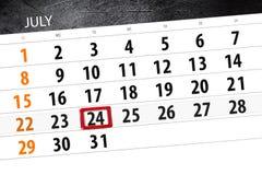 Calendar плановик на месяц, день недели, вторник крайнего срока, 24-ое июля 2018 Стоковые Фотографии RF