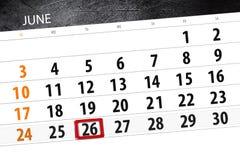 Calendar плановик на месяц, день недели, вторник крайнего срока, 26-ое июня 2018 Стоковые Фотографии RF