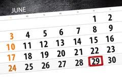 Calendar плановик на месяц, день недели, пятница крайнего срока, 29-ое июня 2018 Стоковые Фотографии RF