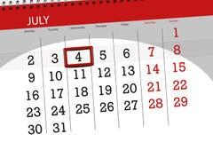 Calendar плановик на месяц, день недели, среда крайнего срока, 2018 4-ое июля, День независимости Стоковая Фотография