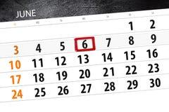 Calendar плановик на месяц, день недели, среда крайнего срока, 6-ое июня 2018 Стоковое Изображение RF