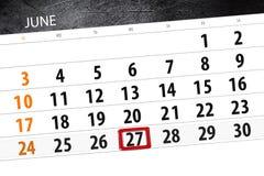 Calendar плановик на месяц, день недели, среда крайнего срока, 27-ое июня 2018 Стоковое фото RF