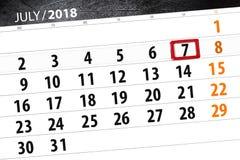 Calendar плановик на месяц, день недели, суббота крайнего срока, 7-ое июля 2018 Стоковые Изображения