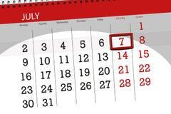 Calendar плановик на месяц, день недели, суббота крайнего срока, 7-ое июля 2018 Стоковое фото RF