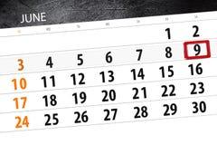 Calendar плановик на месяц, день недели, суббота крайнего срока, 9-ое июня 2018 Стоковое фото RF