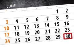 Calendar плановик на месяц, день недели, суббота крайнего срока, 30-ое июня 2018 Стоковое Фото