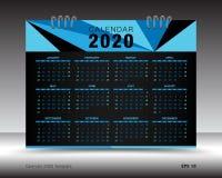 Calendar 2020 план шаблона, голубая рогулька брошюры дела, печатные СМИ, реклама Бесплатная Иллюстрация