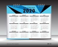 Calendar 2020 план шаблона, голубая рогулька брошюры дела, печатные СМИ, реклама Иллюстрация штока
