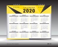 Calendar 2020 план шаблона, желтая рогулька брошюры дела, печатные СМИ, реклама Иллюстрация вектора