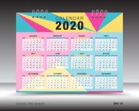 Calendar 2020 план шаблона, красочная рогулька брошюры дела, печатные СМИ, реклама Иллюстрация вектора
